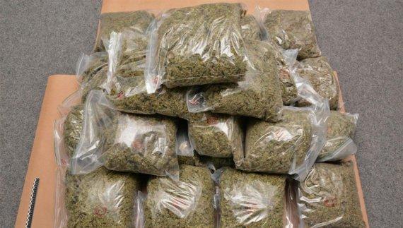 Prinşi în flagrant în timp ce ridicau un colet cu peste 2.600 grame de cannabis
